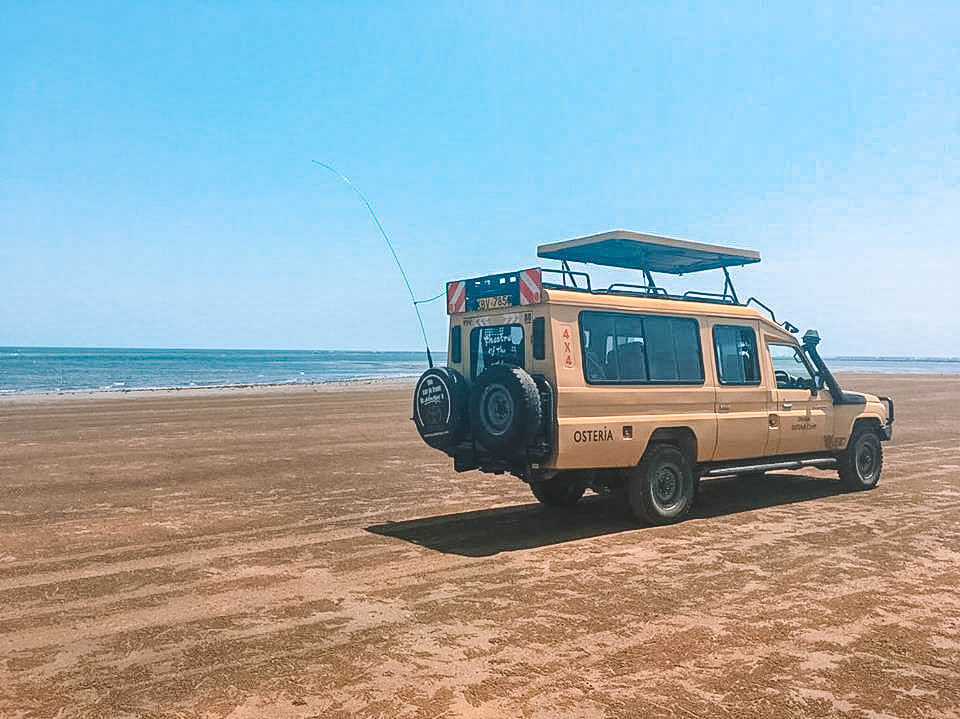 Our Land Rover on the Golden Beach in Malindi, Kenya
