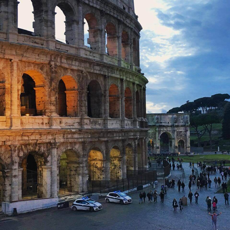 Evening lights at the Colosseum, Rome.