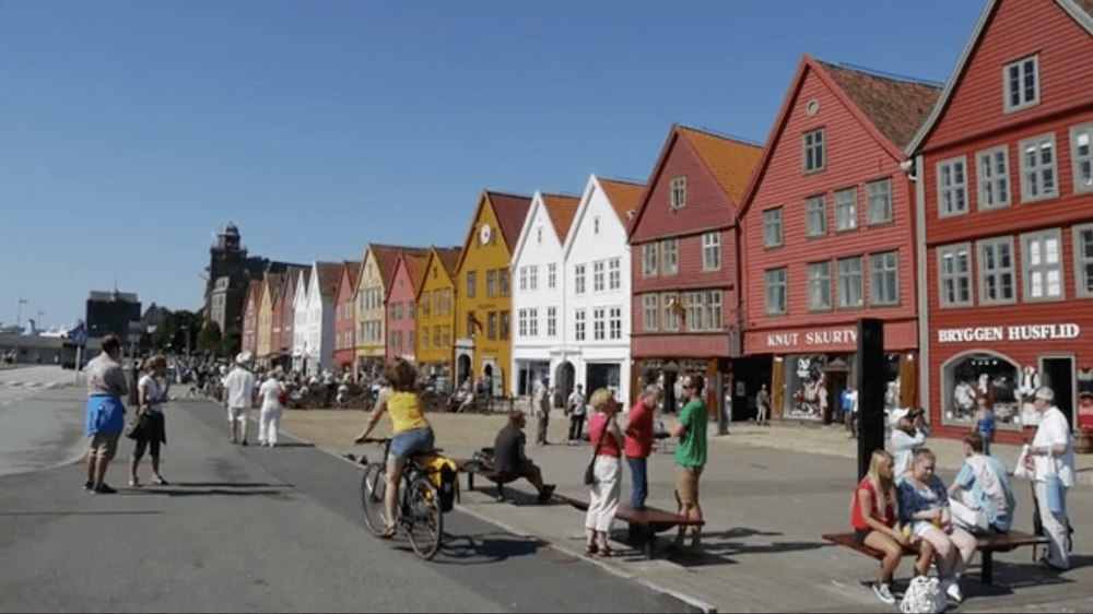 The colourful houses of the Bryggen district in Bergen, Norway