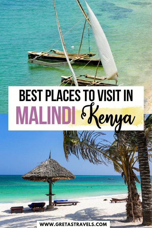 """Photo collage of beautiful beaches in Malindi, Kenya with text overlay saying """"best places to visit in Malindi, Kenya"""""""