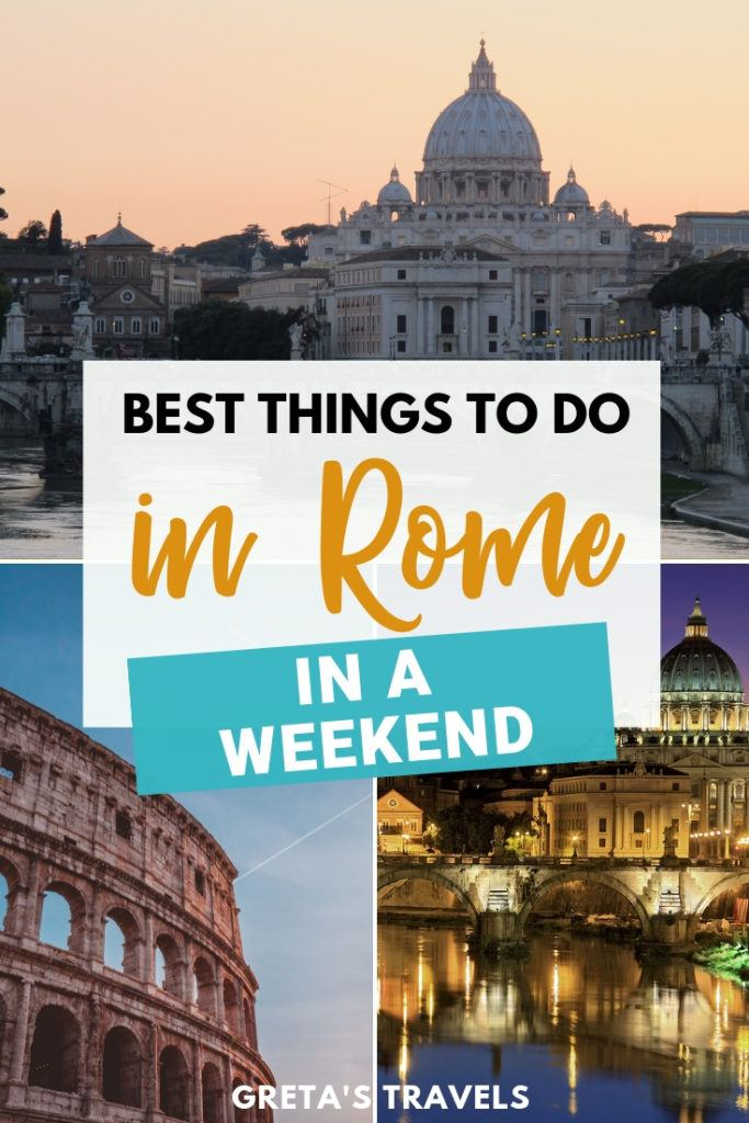 """Collage of the Colosseum and the Vatican with text overlay saying """"best things to do in Rome in a weekend"""""""