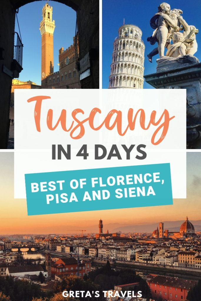 Tuscany is one of the most beautiful and popular regions in Italy. Find out how to spend 4 days in Tuscany, including visits to Pisa, Siena and Florence. #tuscany #italy #pisa #siena #florence #4dayitinerary #traveladvice #tuscanytraveltips #tuscanytraveladvice #italytraveltips #europe