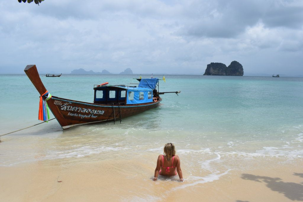 Relaxing on the beach after snorkelling in Koh Lanta