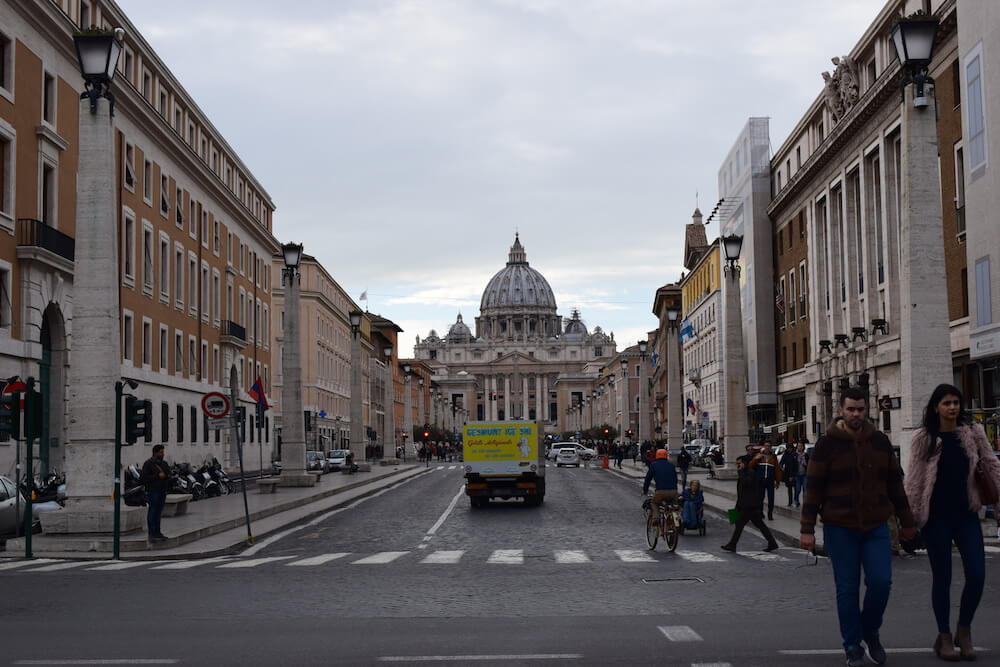 Approaching St. Peter's Basilica in the Vatican