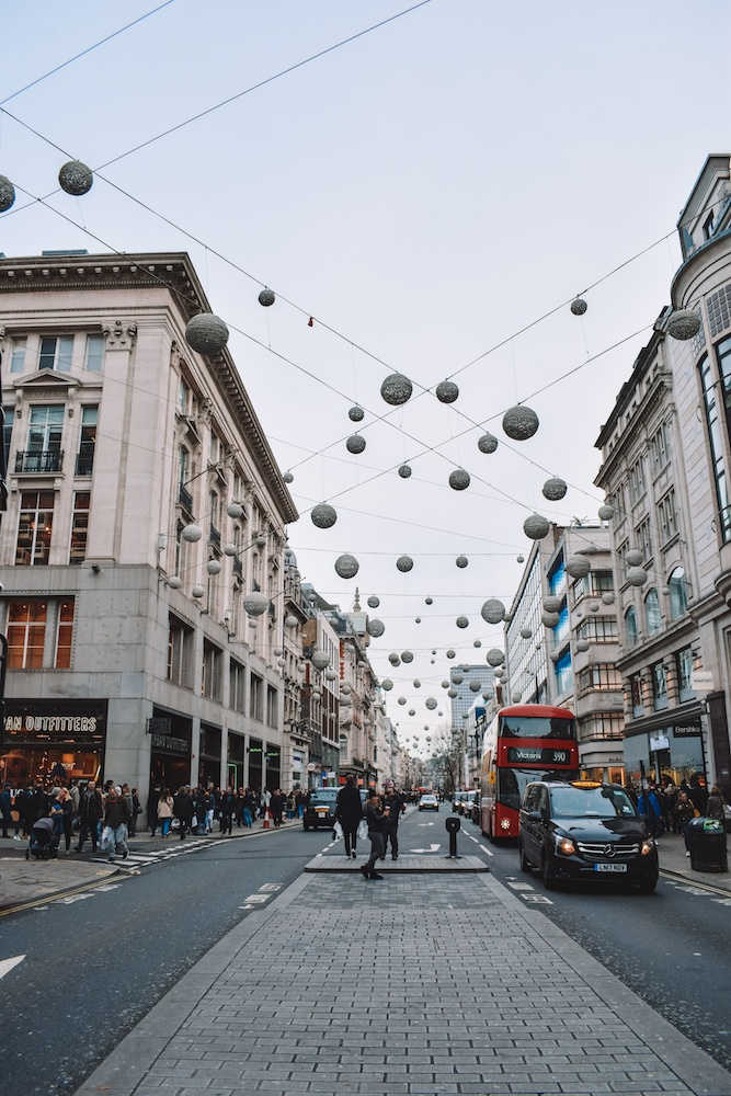 Christmas decorations up on Oxford Street