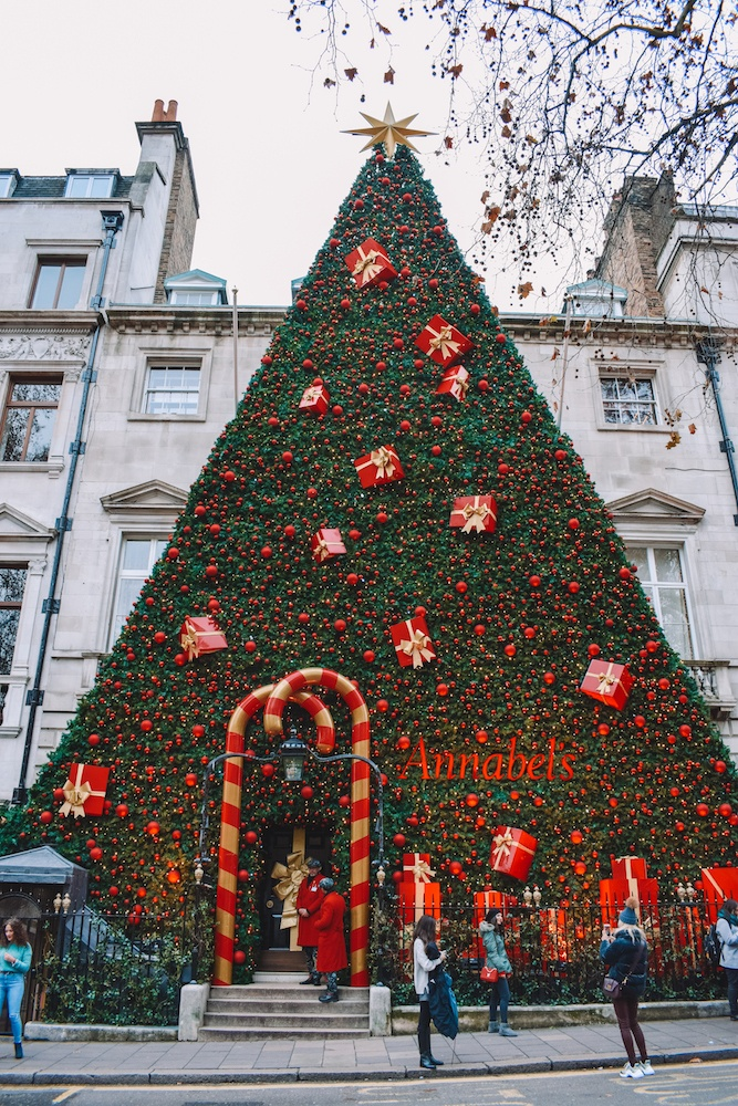The facade of Annabel's gentlemen club with its iconic Christmas tree