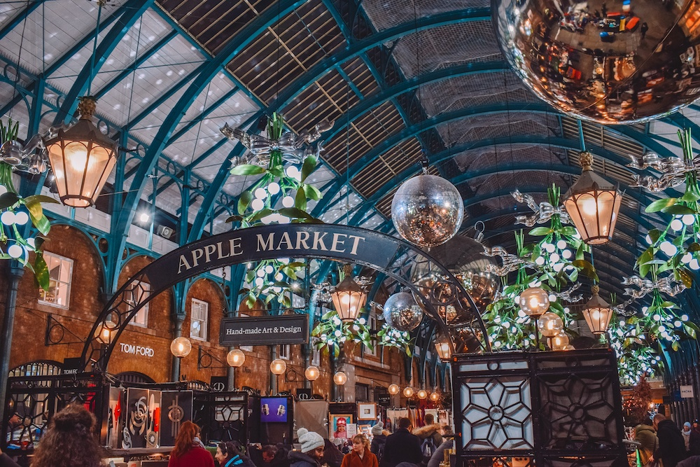The Apple Market in Covent Garden decorated for Christmas