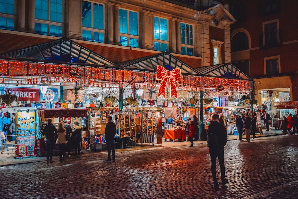 The souvenir and market by Covent Garden, all lit up and decorated for Christmas