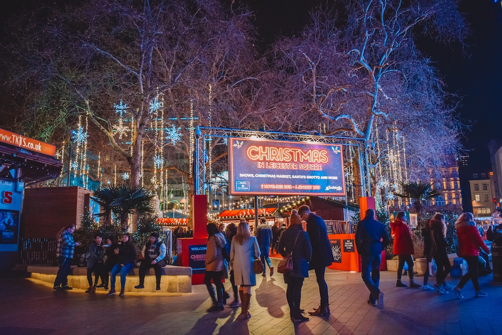The Christmas market in Leicester Square, London