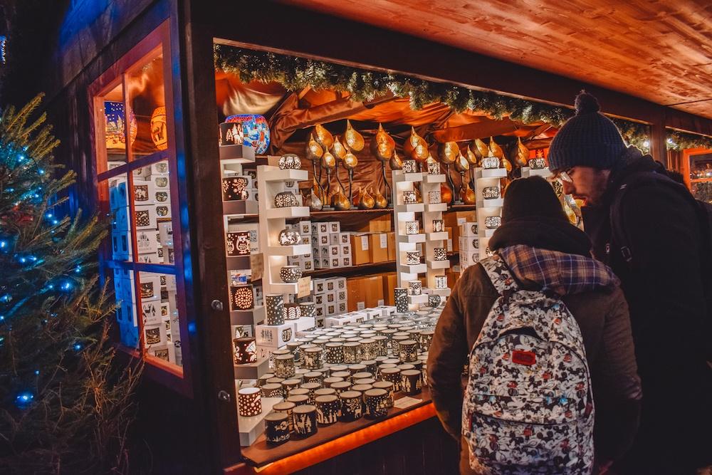 A Christmas souvenirs stand at Winter Wonderland