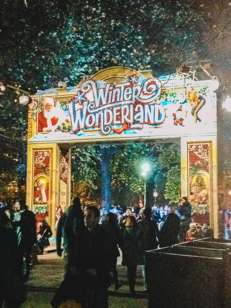 The main entry gate of Winter Wonderland, one of the most typical things to do at Christmas in London