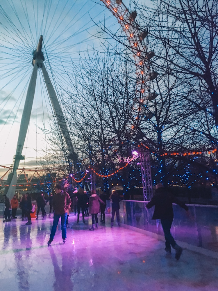 Ice-skating at the rink just under the London Eye