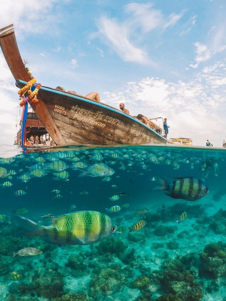 An over / under shot with fish below and a long tail boat above taken in Phi Phi Lei, one of the best snorkelling and scuba diving spots in Thailand