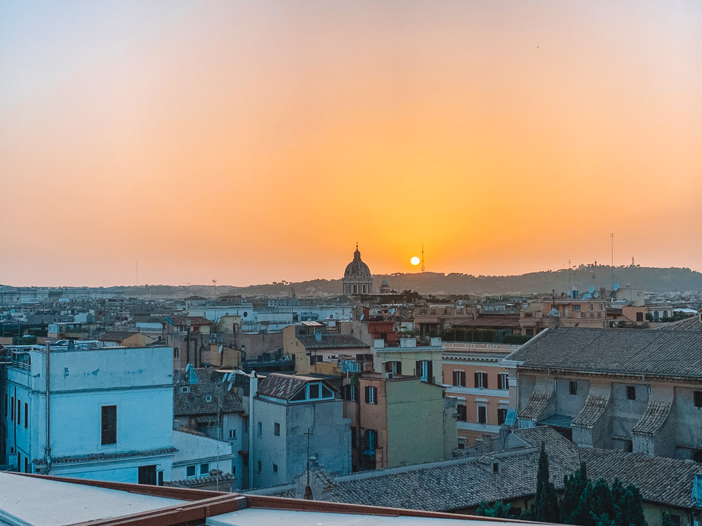 Sunset over the rooftops of Rome