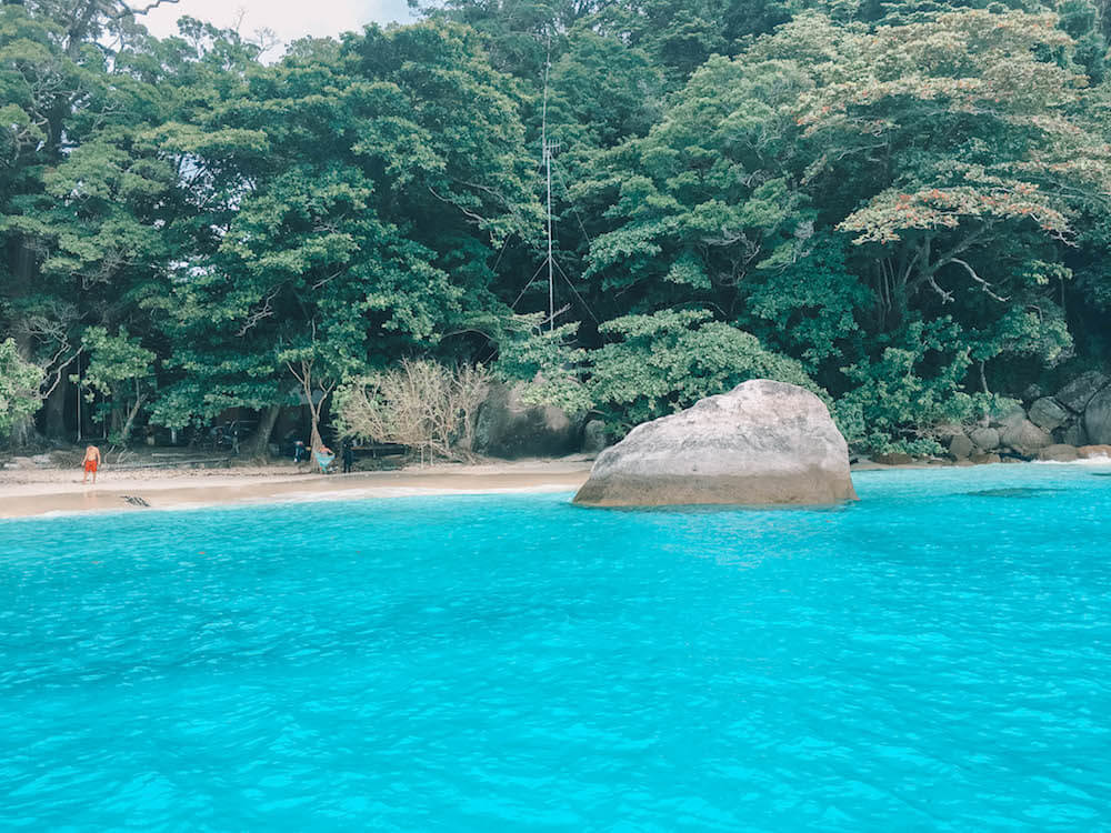 The clear turquoise water of the Similan Islands, Thailand