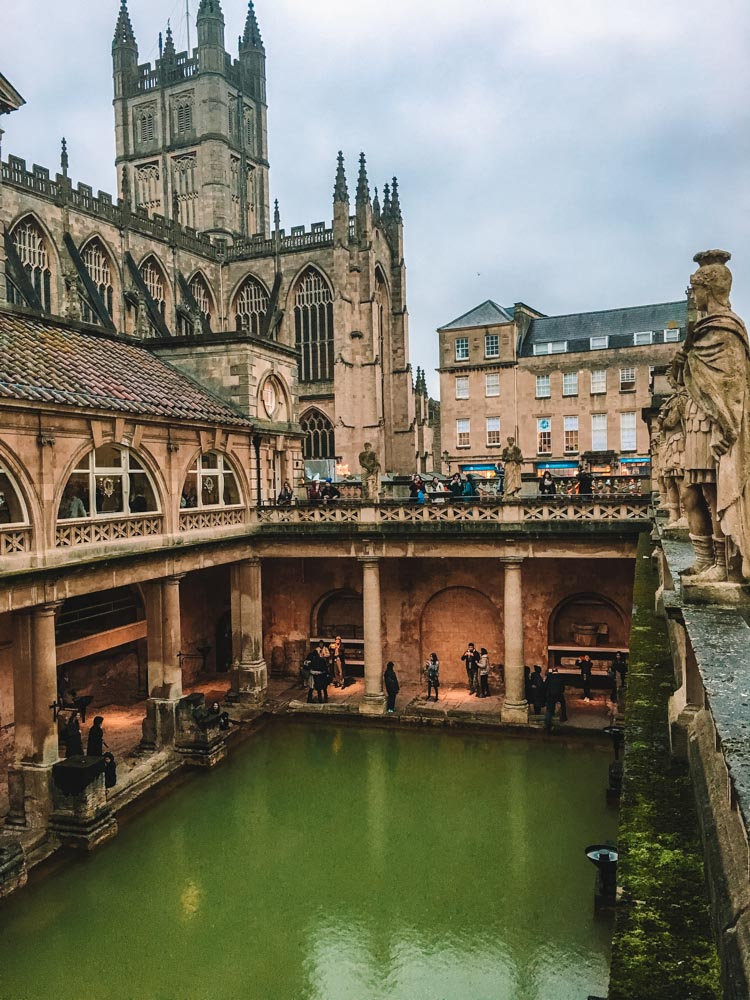The Roman Baths and Bath Abbey in the background