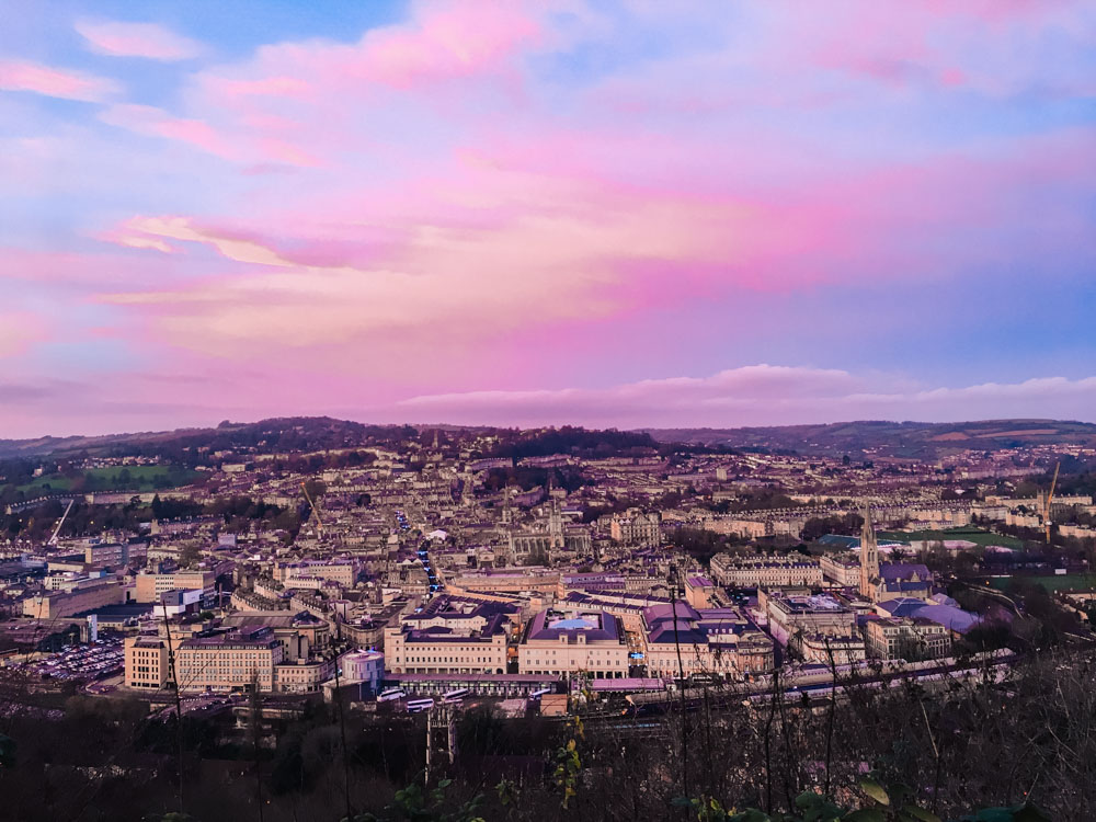The view over Bath at sunset from Alexandra Palace