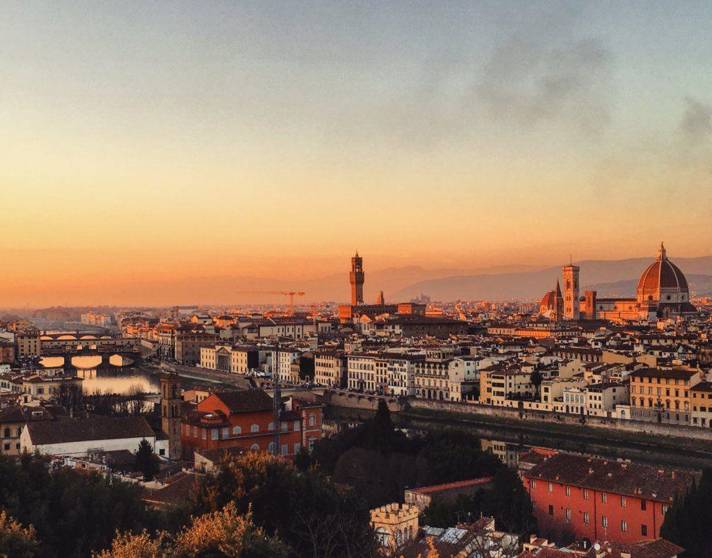 Saulėlydis virš Florencijos iš Piazzale Michelangelo