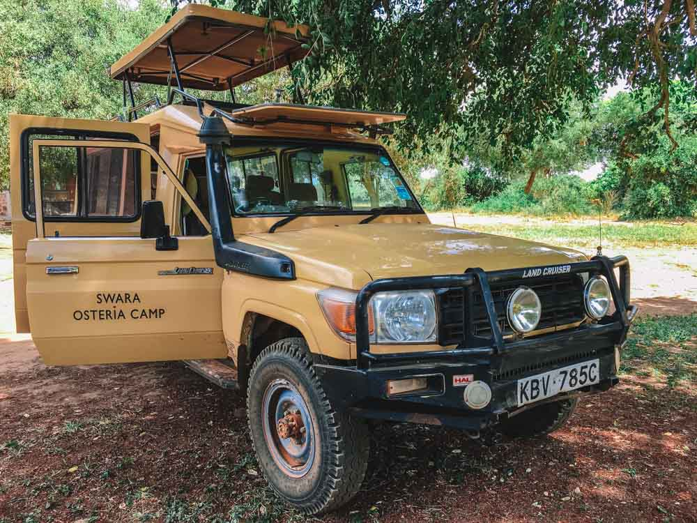 The jeep of Swara Osteria Camp with which we did our safari in the Tsavo East National Park