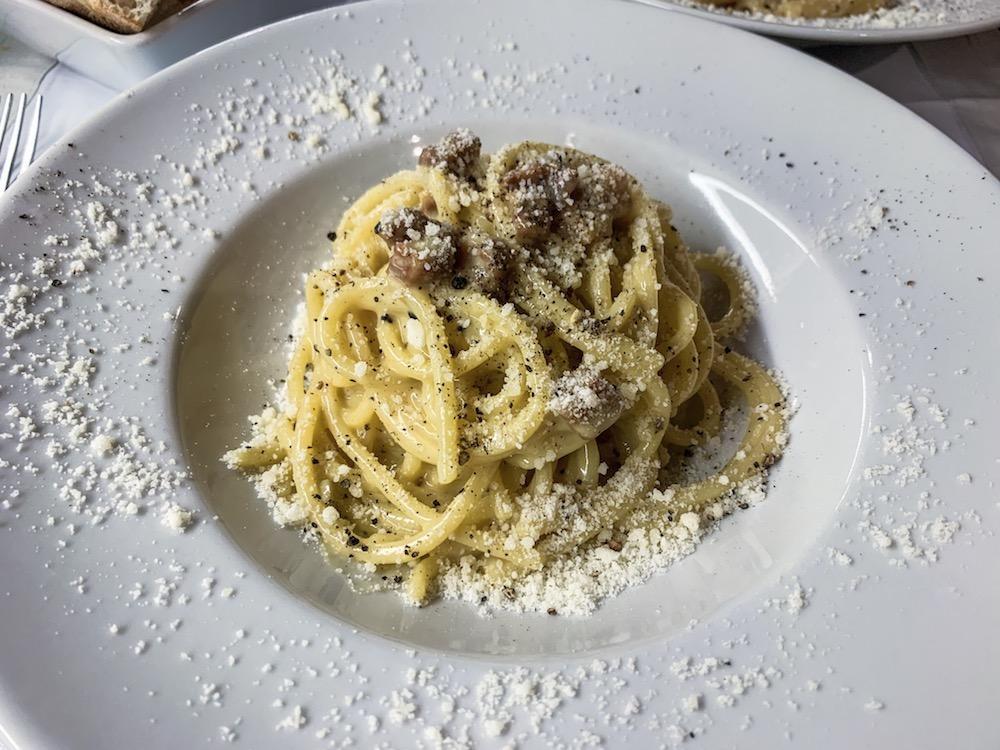 A traditional spaghetti carbonara in Rome