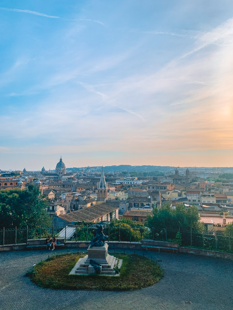 The view over the rooftops of Rome on the way to Villa Borghese Park