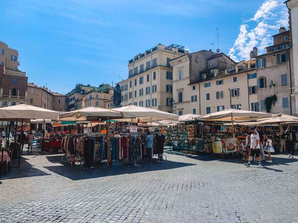 The market in Campo dei Fiori in Rome