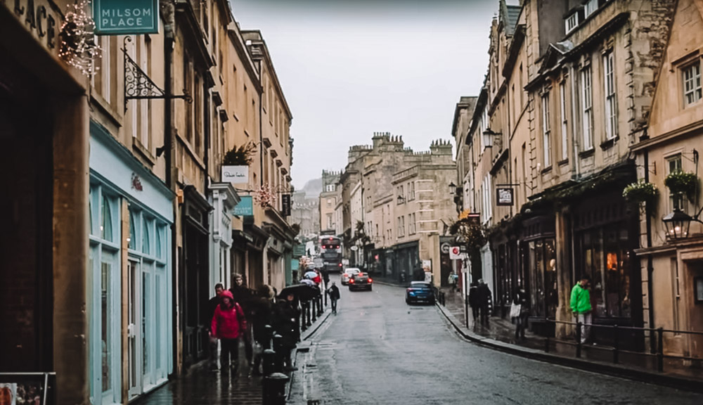 The cute streets of the town centre in Bath