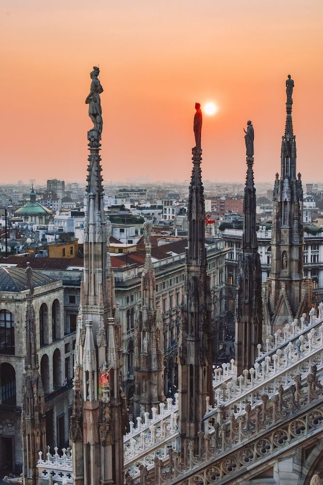 Sunset over Milan from the rooftop of the Duomo, Italy