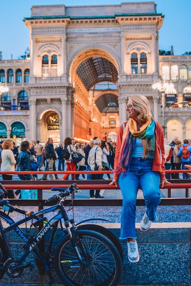 Galleria Vittorio Emanuele seen from across Piazza del Duomo in Milan, Italy