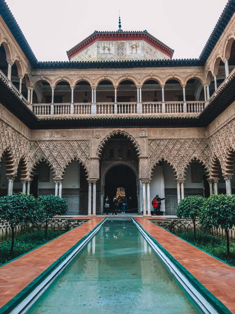 The main courtyard of the Real Alcazar in Seville