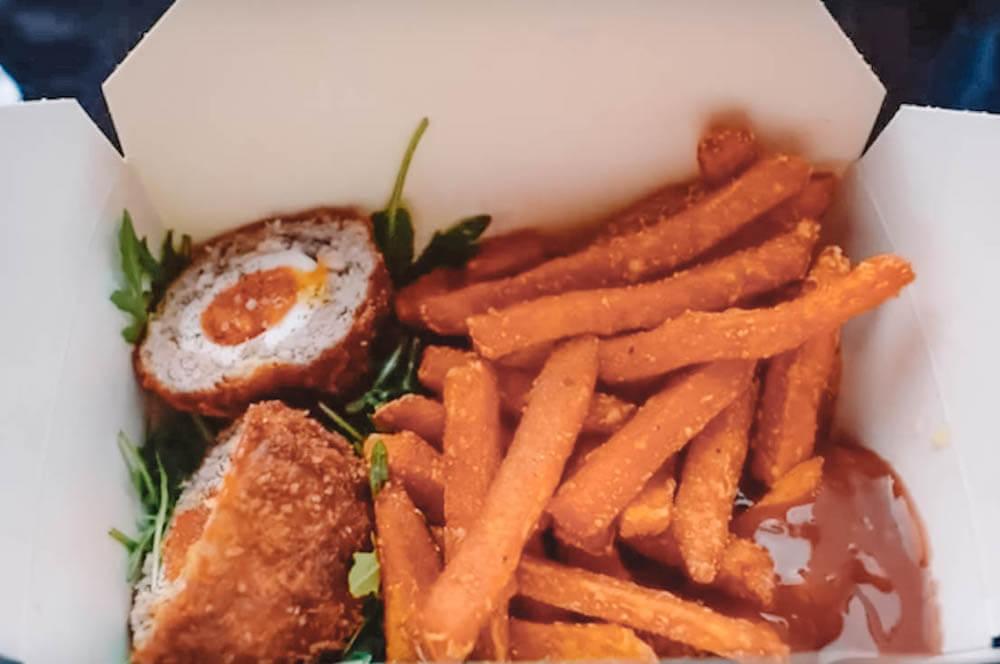 The scotch egg and sweet potato fries of Borough Market, London