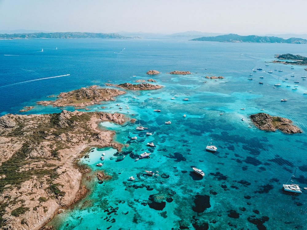 The natural pools of the Archipelago of Maddalena, shot on DJI Mavic Pro