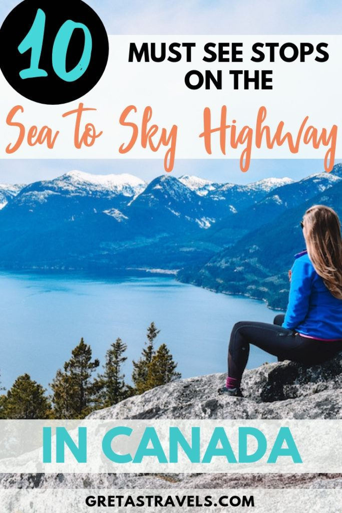 The drive from Vancouver to Whistler on the Sea to Sky Highway is one of the most famous and beautiful in Canada. Discover all the cool things you can do while on a road trip to Whistler with this Sea to Sky Highway guide. #whistler #canada #vancouver #roadtrip #seatoskyhighway #traveladvice #traveltips #canadatraveltips