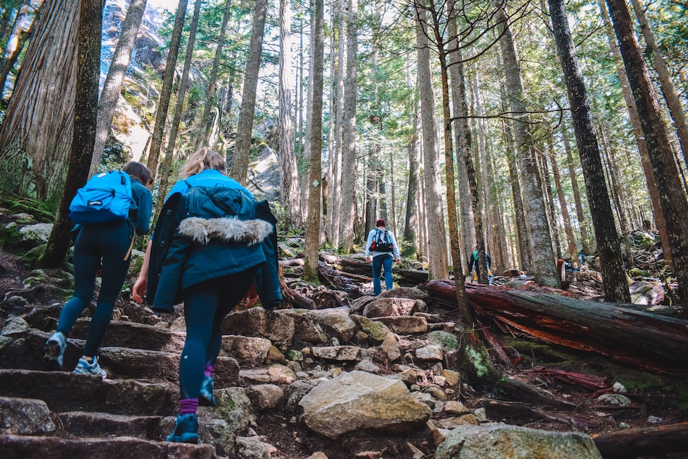 Hiking up Stawamus Chief during a Vancouver to Whistler road trip
