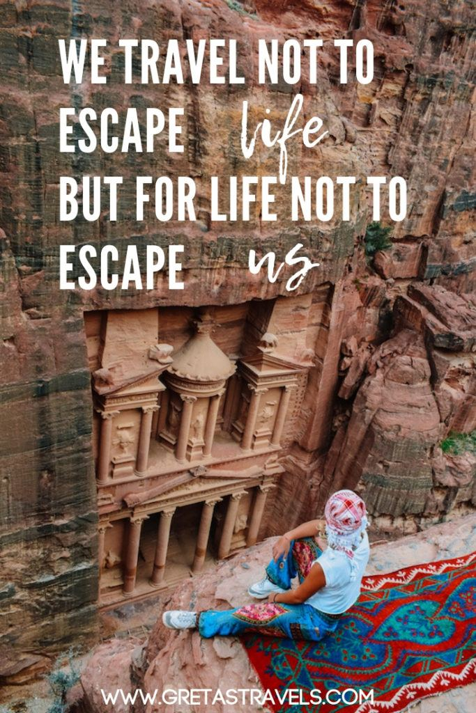 """""""We travel not to escape life, but for life not to escape us"""" Discover 55 quotes about travelling that will inspire you to travel more #travelquotes #quotes #inspirationalquotes #travel #adventurequotes #quotesabouttravel"""