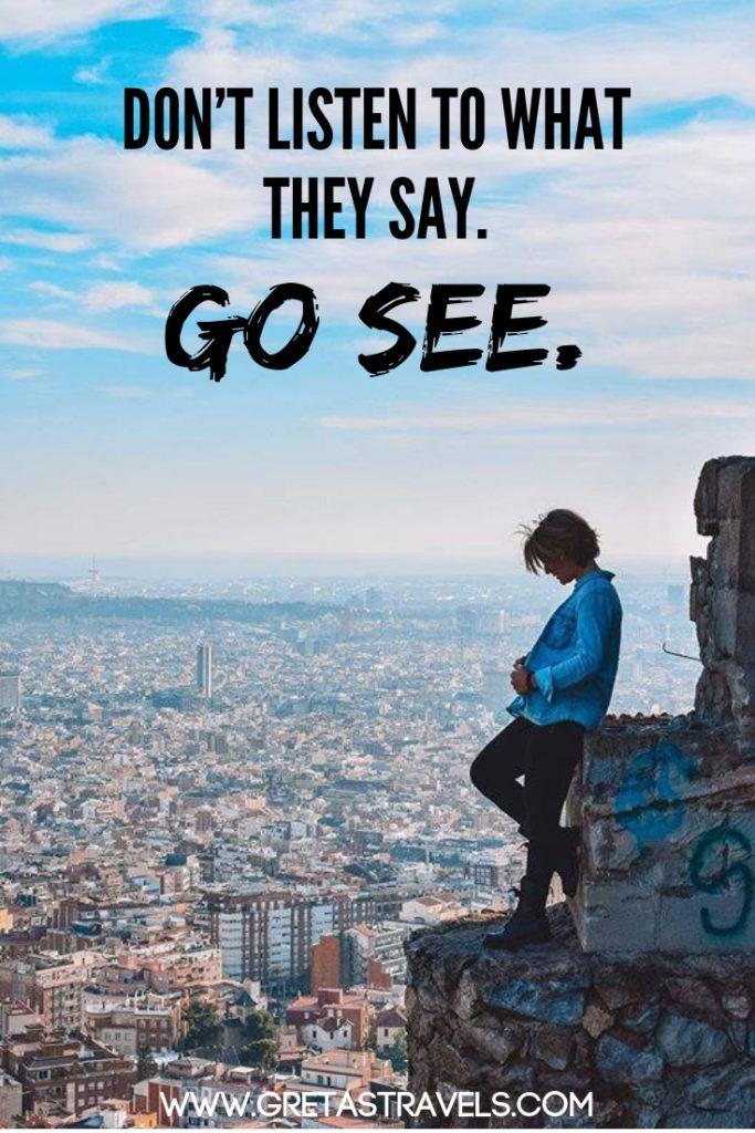 """Don't listen to what they say. Go see."" Discover the 55 best travel quotes for travel inspiration #travelquotes #quotes #inspirationalquotes #travel #adventurequotes"