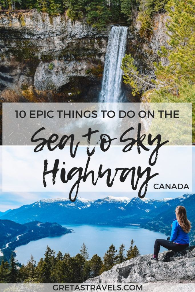 The drive from Vancouver to Whistler on the Sea to Sky Highway is one of the most famous and beautiful in Canada. Discover all the cool things you can do while on a road trip to Whistler with this Sea to Sky Highway guide. #whistler #canada #vancouver #roadtrip #seatoskyhighway