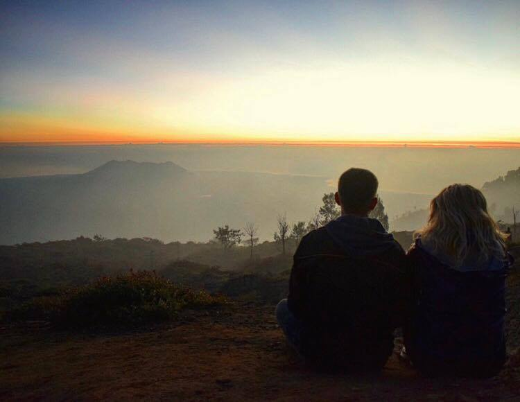 Waiting for the sun to rise at the top of Kawah Ijen