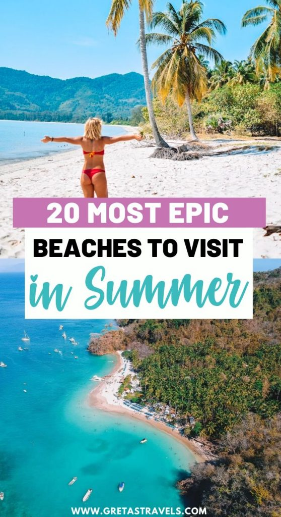 """Drone shot of Isla Tortuga in Costa Rica and a girl walking on a beach in Thailand with text overlay saying """"20 most epic beaches to visit in summer"""""""