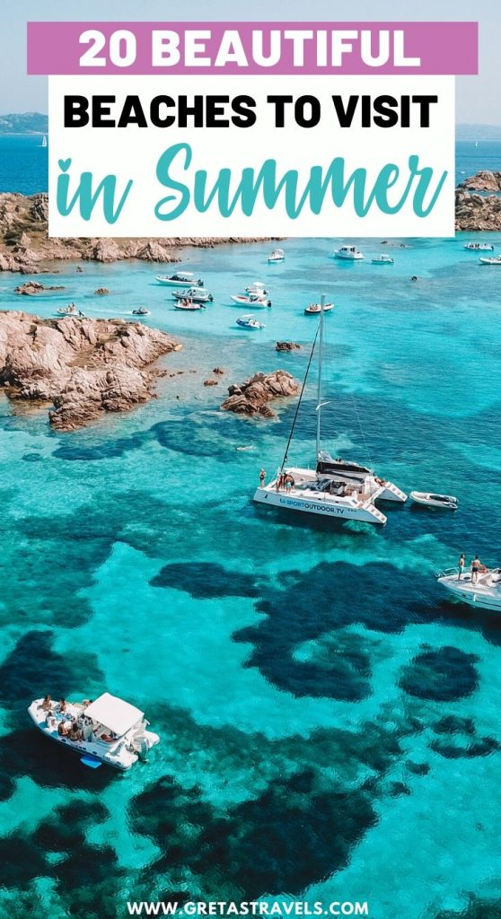 """Drone shot of the natural pools of Sardinia, Italy, with text overlay saying """"20 beautiful beaches to visit in summer"""""""