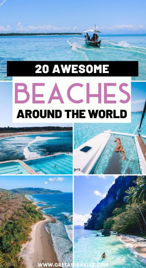 "Collage of beaches around the world, including El Nido, Santa Teresa, Sardinia, Bondi and Siargao with text overlay saying ""20 awesome beaches around the world"""