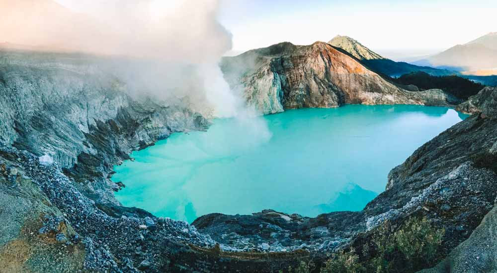Looking down in the crater of Kawah Ijen