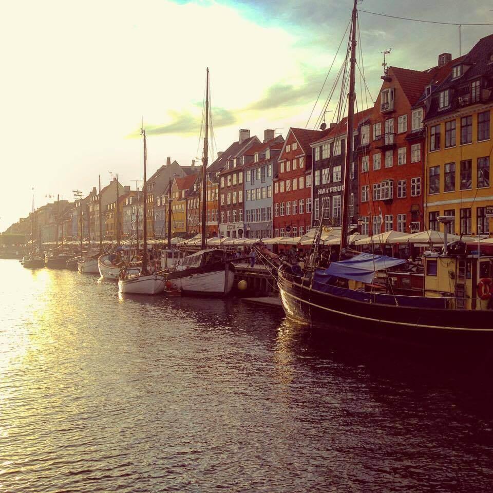 Sunset over Nyhavn in Copenhagen, Denmark