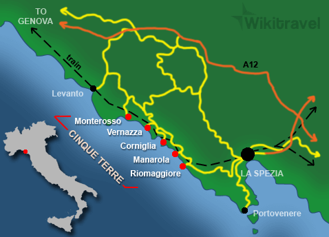 Map of Cinque Terre and the surrounding area, showing also where La Spezia is