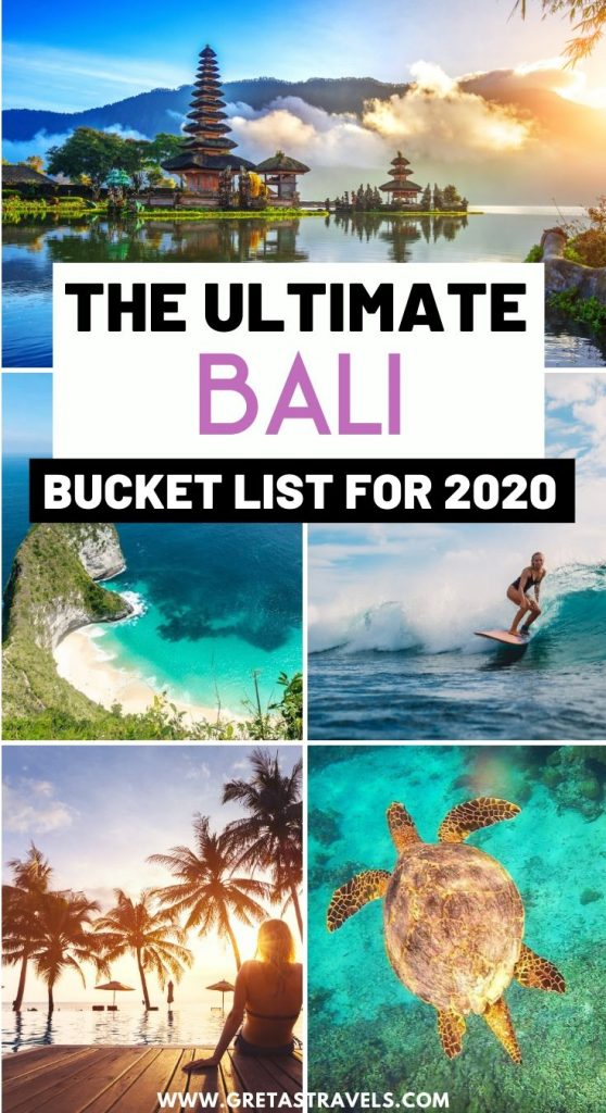 "Collage of temples and beaches in Bali with text overlay saying ""the ultimate Bali bucket list for 2020"""