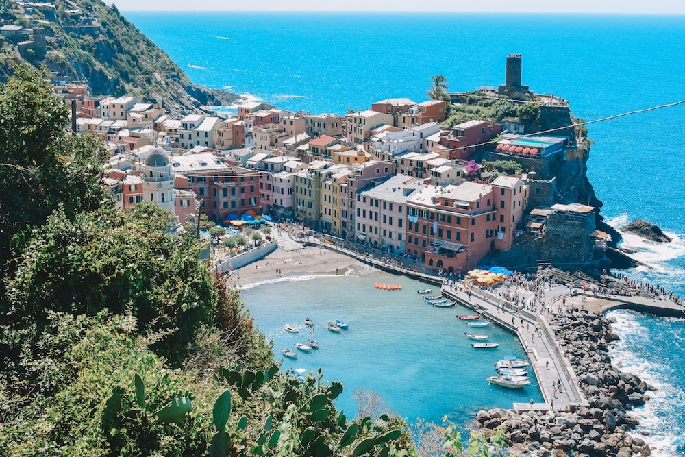 Vernazza, one of the towns of Cinque Terre, seen from the Sentiero Azzurro