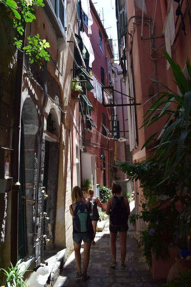 The picturesque streets of towns in Cinque Terre