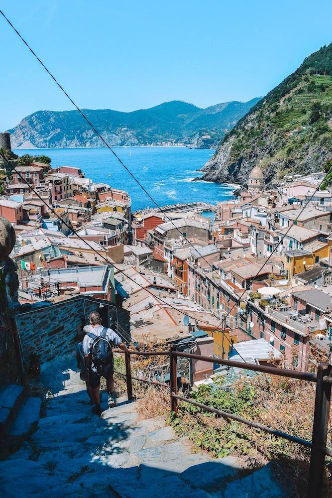View over Vernazza from the start of the Sentiero Azzurro, enroute to Corniglia