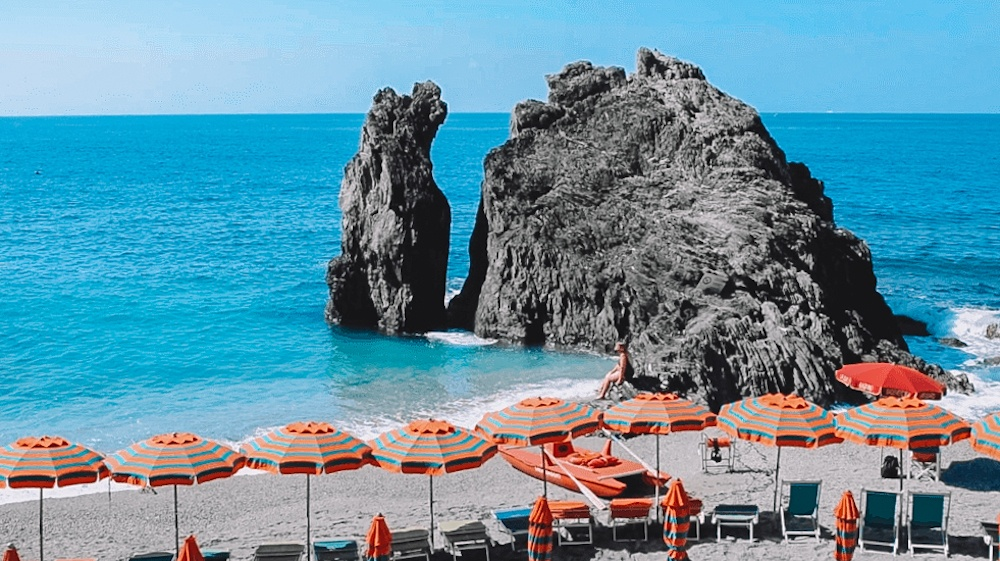 The beach in Monterosso, the first town in this Cinque Terre 1-day hike itinerary