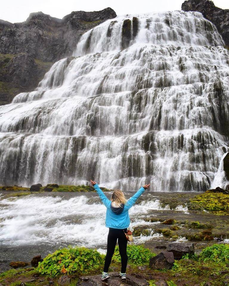 Admiring Dynjandi Falls in the Westfjords